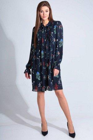 Платье Платье Golden Valley 4636  Состав ткани: ПЭ-100%;  Рост: 170 см.  Платье с центральной застежкой на петли и пуговицы, отрезным воротником- стойкой, переходящей в бант- завязку. Платье отрезное
