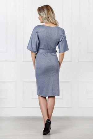 Платье 819 элегант жемчуг синий люрекс