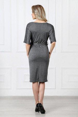 Платье 820 элегант жемчуг черный люрекс