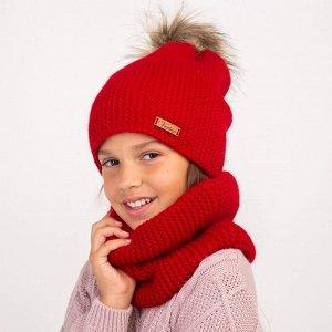Комплект с помпоном для девочки на зиму.