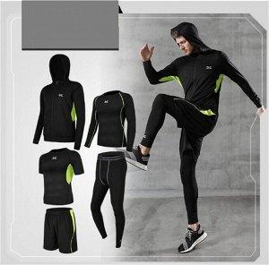 Костюм мужской (куртка с капюшоном+футболка с динным рукавом+футболка+шорты+леггинсы)