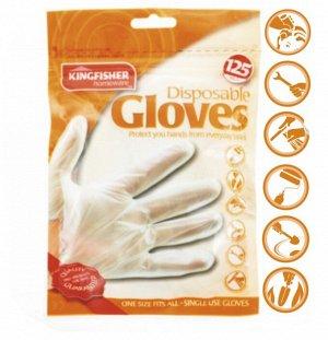 """Перчатки полиэтиленовые """"KINGFISHER"""", одноразовые, одноразмерные, 125 штук в упаковке."""