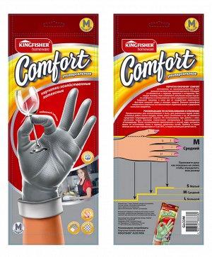 """Перчатки латексные""""KINGFISHER"""" COMFORT хозяйственные, универсальные, размер """"M"""", 1 пара в упаковке."""