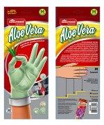 """Перчатки латексные""""KINGFISHER"""" ALOE VERA хозяйственные, супер прочные с Алоэ, размер """"M"""", 1 пара в упаковке."""