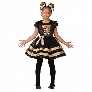 Карнавальный костюм «Золотая пчёлка», платье, ободок с помпонами, р. 32, рост 128 см