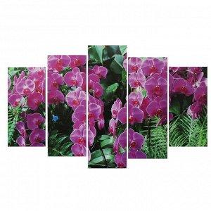 """Картина модульная на подрамнике """"Фиолетовая орхидея"""" 2-25*52,2-25*66,5,1-25*80, 80*140  см"""
