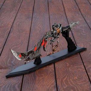 """Кинжал на подставке """"Сердце дракона"""", тройное лезвие, рукоять в виде хвоста дракона, 39 см"""
