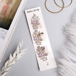 """Аксессуар для волос """"Моника"""" (на невидимках) 20 см сиреневые цветы, серебро"""