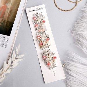 "Аксессуар для волос ""Моника"" (на невидимках) 20 см букет цветов, серебро ,МИКС"
