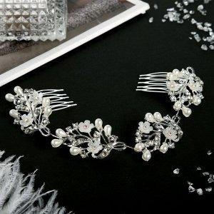 """Аксессуар для волос """"Мальви"""" 21 см белые цветочки, серебро"""