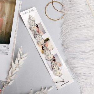 """Аксессуар для волос """"Моника"""" (на невидимках) 26 см нежные розочки, серебро"""