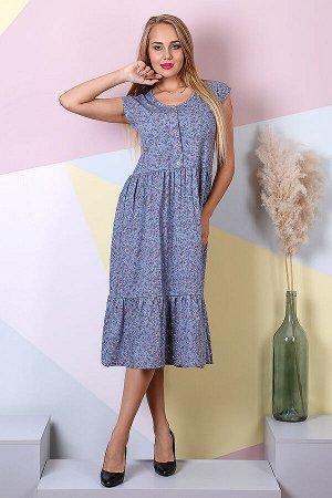 Женское платье Стефани-ЦС (Цветы на сиреневом)