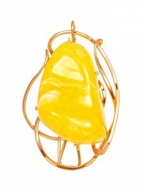 Эффектная брошь-кулон из натурального медового янтаря в позолоченном серебре «Риальто», 907912028