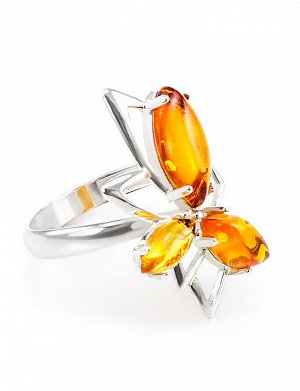 Эффектное кольцо «Калипсо» из серебра и натурального янтаря золотисто-коньячного цвета, 606310046