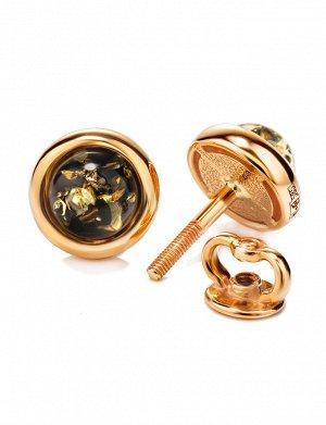 Золотые серьги-пусеты «Ягодка» с натуральным зелёным янтарем, 5064212413