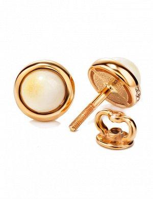 Нежные золотые серьги-пусеты со вставками из натурального балтийского медового янтаря «Ягодки», 606406475