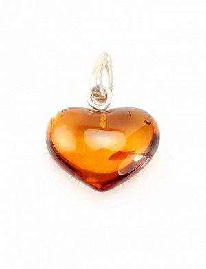 Кулон-сердце из натурального цельного янтаря коньячного цвета, 505404501