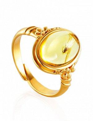 Кольцо «Клио» из золочённого серебра и янтаря с включением миниатюрной мушки, 910008457