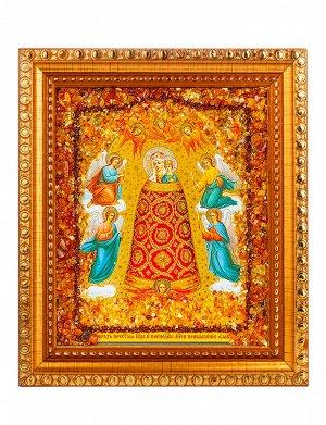 «Прибавление ума». Икона, украшенная россыпью натурального янтаря, 906904402