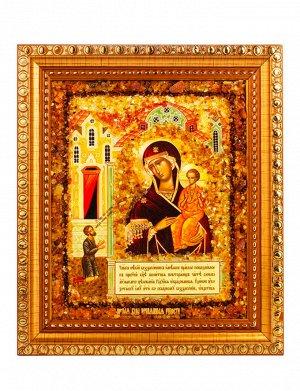 Икона Божией матери «Нечаянная радость» с натуральным янтарём, 906904394