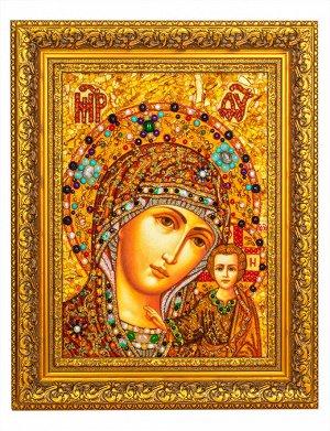 Икона Божией Матери из натурального янтаря и полудрагоценных камней «Казанская», 906911068