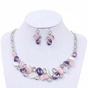"""Набор 2 предмета: серьги, колье """"Листочки"""", цвет розовый в серебре"""