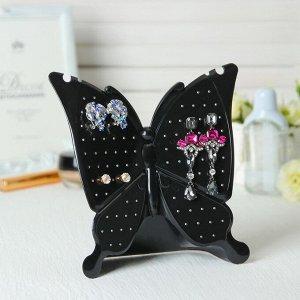 """Подставка под серьги """"Бабочка объемная"""" 18*6,5*18 см, цвет чёрный"""