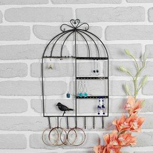 """Подставка для украшений """"Клетка с птичкой"""", 25,5*3,5*43 см, цвет чёрный"""