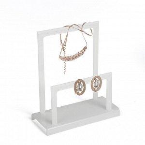 Подставка для украшений, две ступеньки, цвет белый 14,5*6,5*16 см