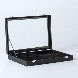 Подставка под кольца, кулоны, 7 рядов, 10 крючков, со стеклянной крышкой, цвет чёрный