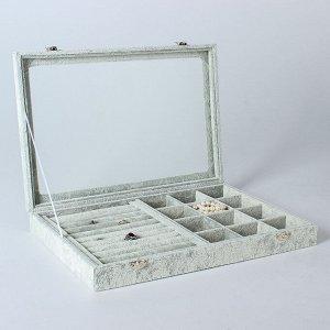 Подставка под украшения, 10 рядов, 12 ячеек, 35*24*4,5 см, цвет серый