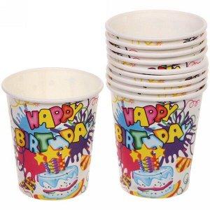 """Стакан бумажный 0,2л в наборе 10 шт """"День рождения"""" Тортик, белый"""