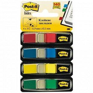 Флажки-закладки Post-it, 45*12мм, 35л*4 цвета, в индивидуальных диспенсерах