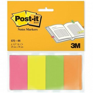 Флажки-закладки Post-it, бумажные, 20*38мм, 50л*4 цвета, европодвес