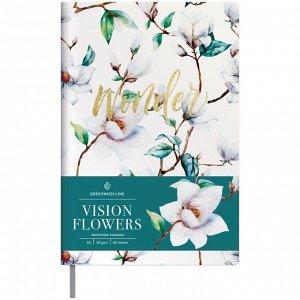 """Записная книжка А5 80л. ЛАЙТ, кожзам, Greenwich Line """"Vision.Flowers"""", тон. блок, цв. срез"""