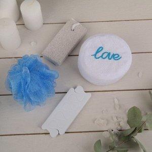 Набор банный, 4 предмета: 2 мочалки, разделитель для пальцев, пемза