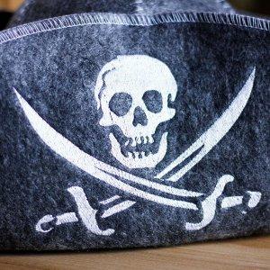 """Шапка для бани """"Пират"""", войлок, серая"""