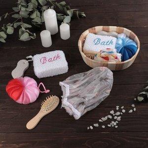 Набор банный, 5 предметов: 2 мочалки, пемза, расчёска, шапочка для душа, цвет МИКС