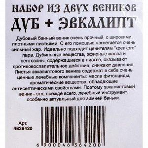 Набор веников для бани Дуб ЭКСТРА + эвкалиптовый