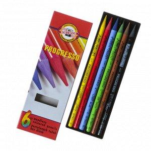 Карандаши художественные 6 цветов, Koh-I-Noor PROGRESSO 8755, цветные, цельнографитные, в картонной коробке