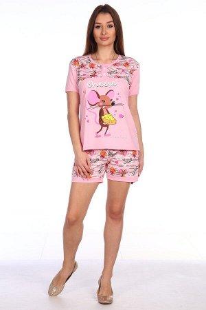 Пижама Ткань: кулирка 100% хлопок ментол,розовая