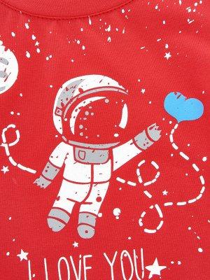 Футболка с космонавтом (98-116см) UD 0787(6)красный