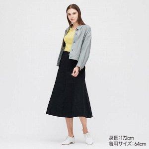 Длинная юбка из хлопка (высокая талия, длина 80-84см),черный