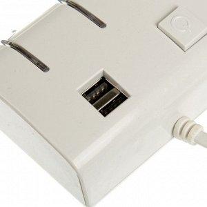 Разветвитель прикуривателя, 3 гнезда с подсветкой, 2 USB, 12/24 В, провод 70 см, белый