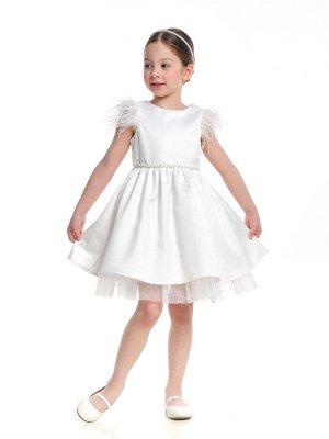 Платье *Бренд: Mini Maxi Артикул: UD 6971 белый Состав: Полушёлковая ткань атласного переплетения с гладкой блестящей лицевой поверхностью Отделка: фатин Доп.полотно: подкладочная ткань Описание: Плат