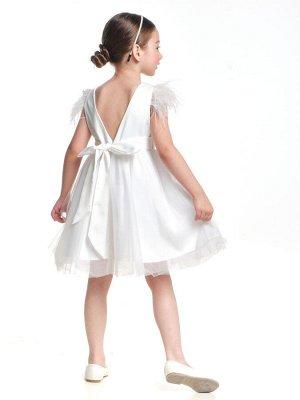 Платье Бренд: Mini Maxi Артикул: UD 6971 белый Состав: Полушёлковая ткань атласного переплетения с гладкой блестящей лицевой поверхностью Отделка: фатин Доп.полотно: подкладочная ткань Описание: Плать