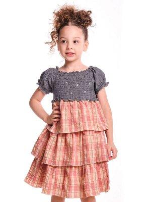 Платье комбинированное (98-122см) 2137(Е)кирпич