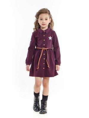 Платье с пояском (98-122см) UD 4093(1)бордо