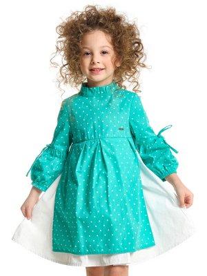 *Платье (98-122см) UD 6256(6)бирюза/бел