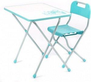 "Набор мебели ""Ретро""  (стол +пласт. стул) бирюзовый с белым"